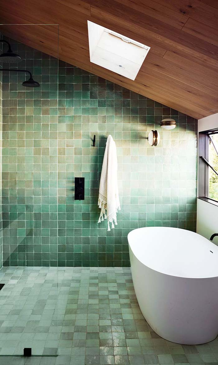 Reflect Your Surroundings #showertile #bathroom #decorhomeideas