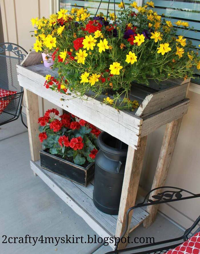 Rustic Wooden Shelves With Potted Flowers #rustic #springdecor #porch #decorhomeideas