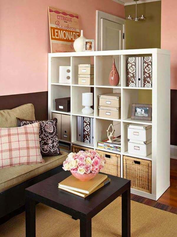 Shelves Multitask as Storage and Room Divider #storage #organization #decorhomeideas