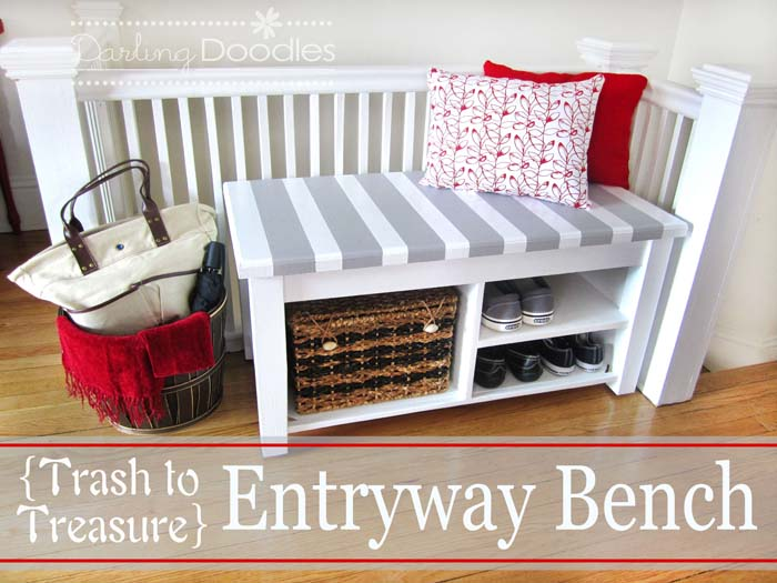 Simple Do-It-Yourself Storage Bench Project #entrywaybench #diy #decorhomeideas
