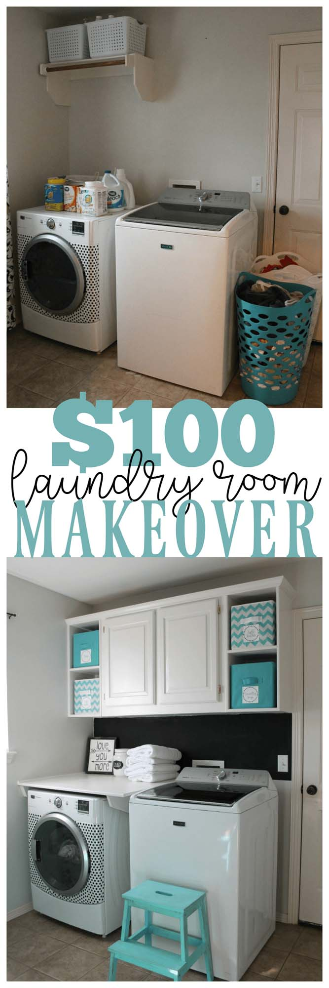 Simple yet Effective Cabinet Addition #laundryroom #makeover #decorhomeideas