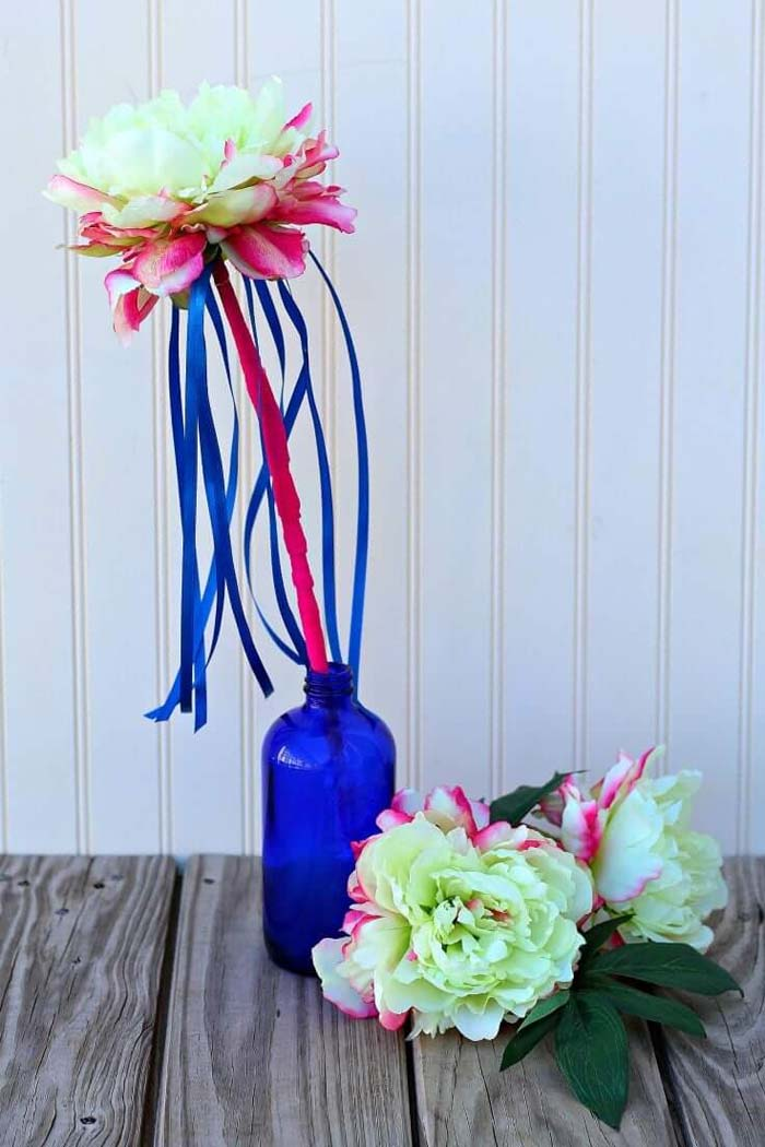 Spring Flower Wand with Ribbons #springdecor #dollarstore #decorhomeideas