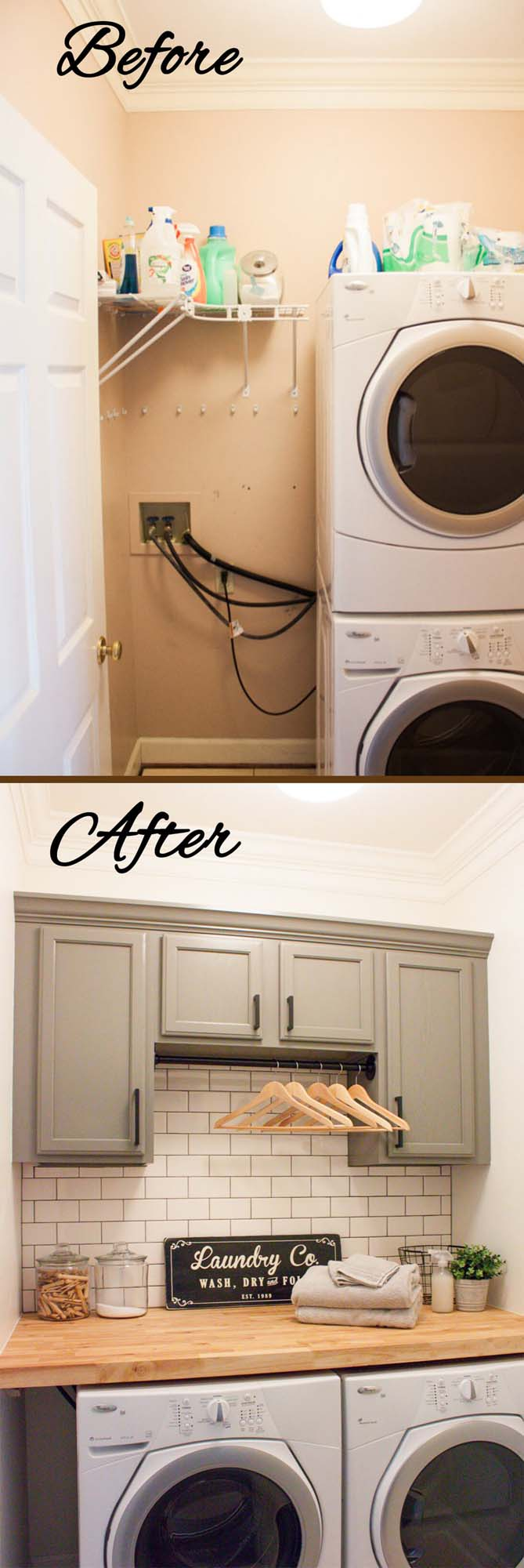 Stacked to Flat with Extra Storage #laundryroom #makeover #decorhomeideas