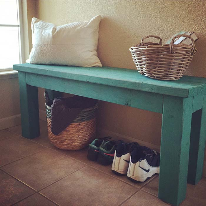 Turquoise2x4 Entry Bench