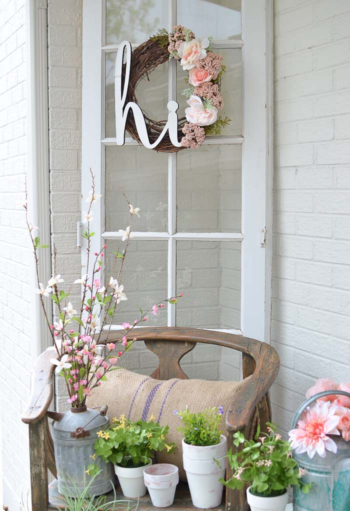 Twig and Flower Wreath, Water Can Vase #rustic #springdecor #porch #decorhomeideas