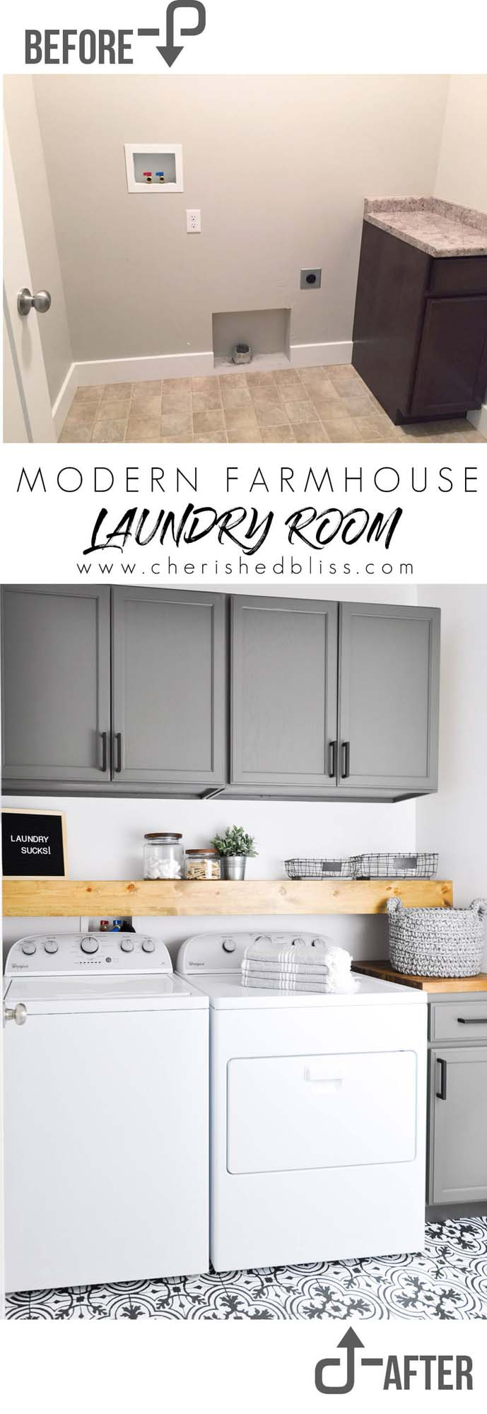 Updated Farmhouse Appeal #laundryroom #makeover #decorhomeideas