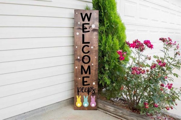 Welcome Peeps Spring Front Porch Sign #rustic #springdecor #porch #decorhomeideas