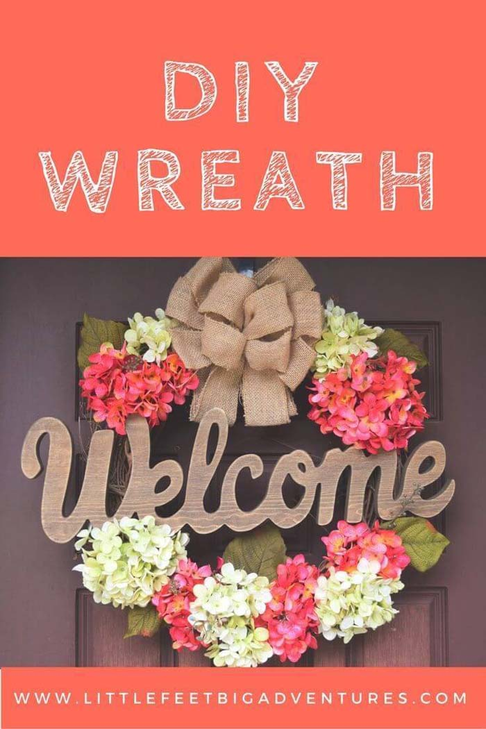 Welcoming Wreath with Pink and White Forsythia #springwreath #diy #decorhomeideas