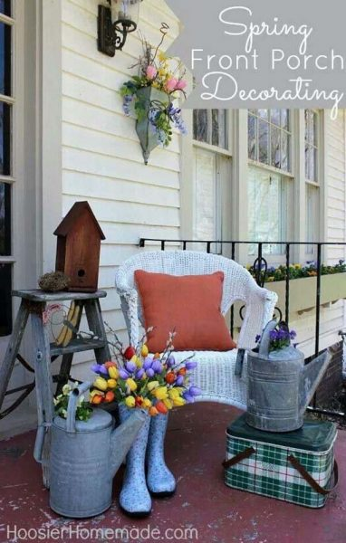 Wellies Bouquet and Galvanized Watering Can Vases #rustic #springdecor #porch #decorhomeideas