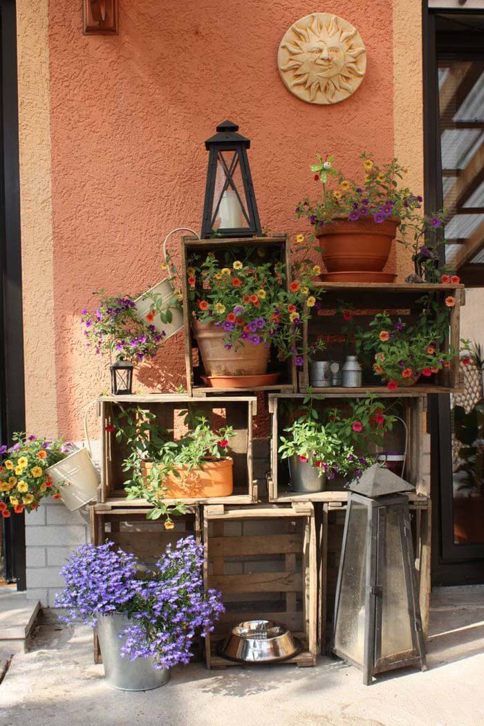 Wooden Crate Shelves With Potted Flowers #rustic #springdecor #porch #decorhomeideas