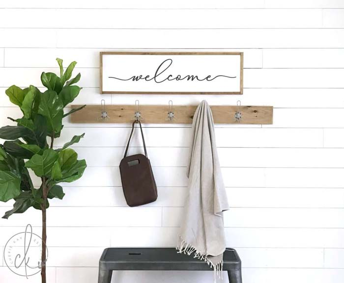 A Simple and Single Stool Welcomes You #rusticentryway #farmhouse #decor #decorhomeideas