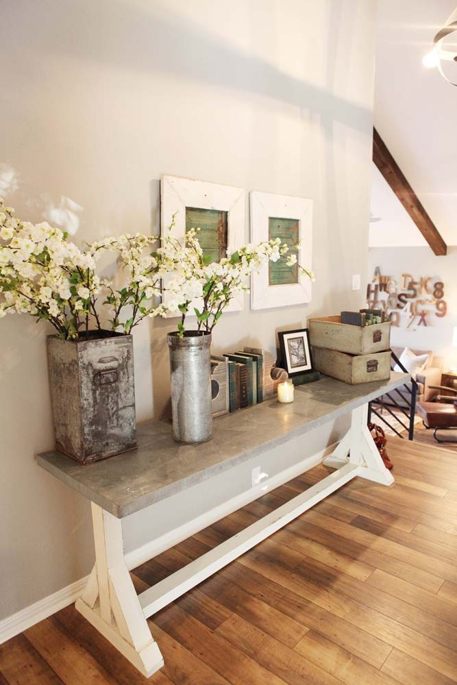 Add Fresh Flowers in Rustic Containers #rusticentryway #farmhouse #decor #decorhomeideas