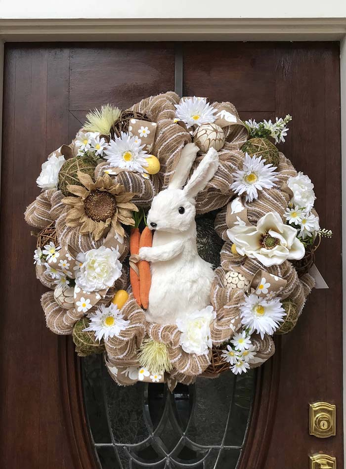 Assorted Flower Bouquet and Ribbons Bunny Wreath #Easter #spring #vintagedecor #decorhomeideas