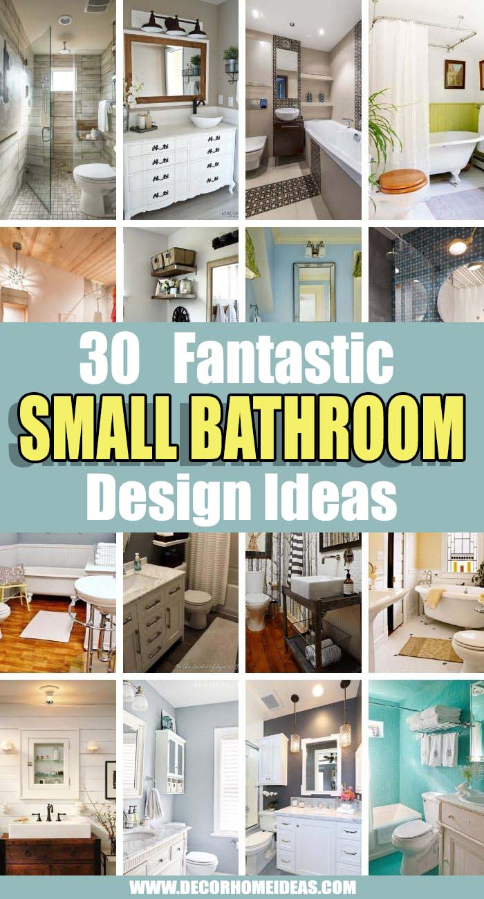 Best Small Bathroom Design Ideas. While they're short on space, these small bathrooms make the most of their size with interesting designs, features and storage solutions. #decorhomeideas