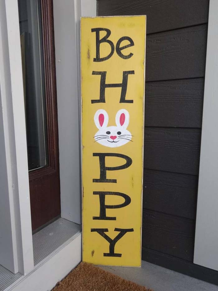 """Bright and Cheerful """"Be Hoppy"""" Sign #Easter #sign #decorhomeideas"""