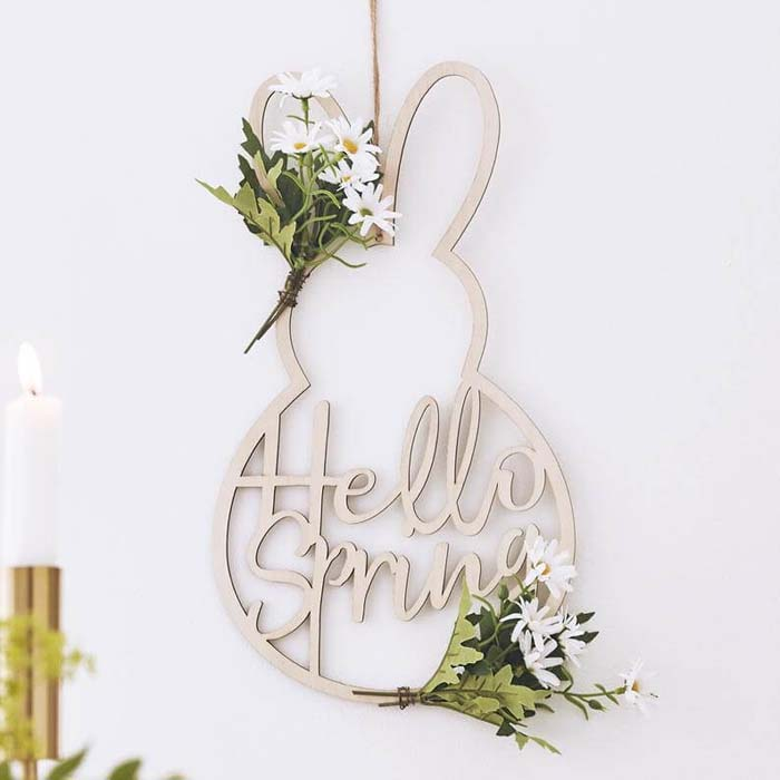 """Bunny-Shaped """"Hello Spring"""" Easter Sign Decoration #Easter #sign #decorhomeideas"""
