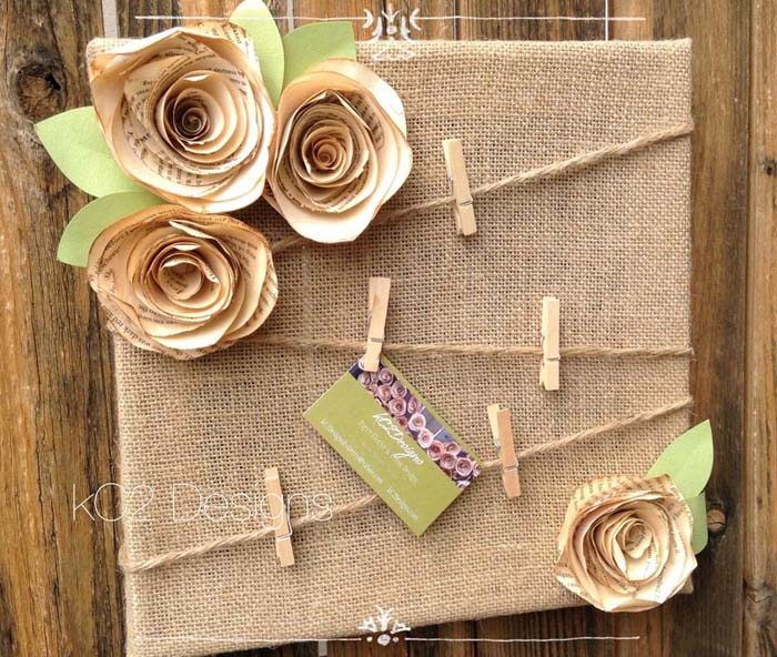 Burlap Message Board with Paper Flowers #floral #homedecor #decorhomeideas