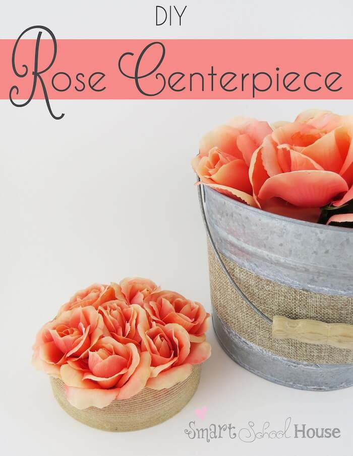 Centerpiece Made with Silk Roses and Burlap #floral #homedecor #decorhomeideas