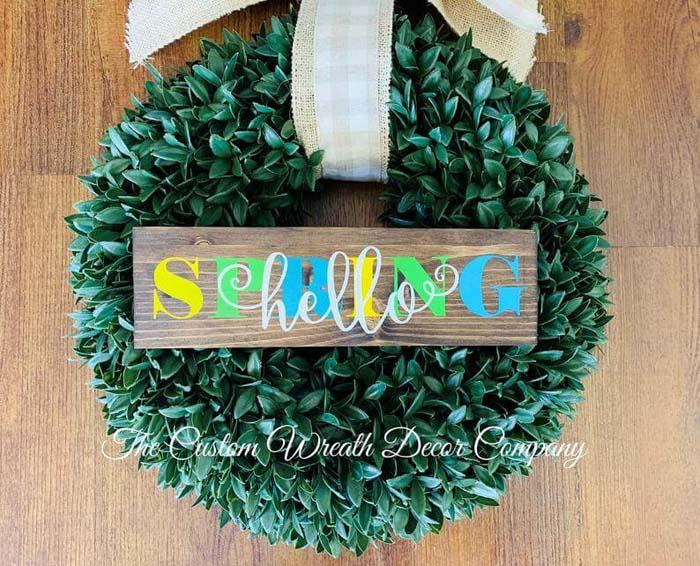 """Colorful """"Hello Spring"""" Rustic Wooden Sign #Easter #sign #decorhomeideas"""