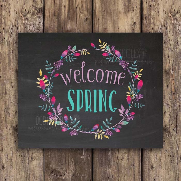 Colorful Welcome Spring Digital Download #Easter #sign #decorhomeideas