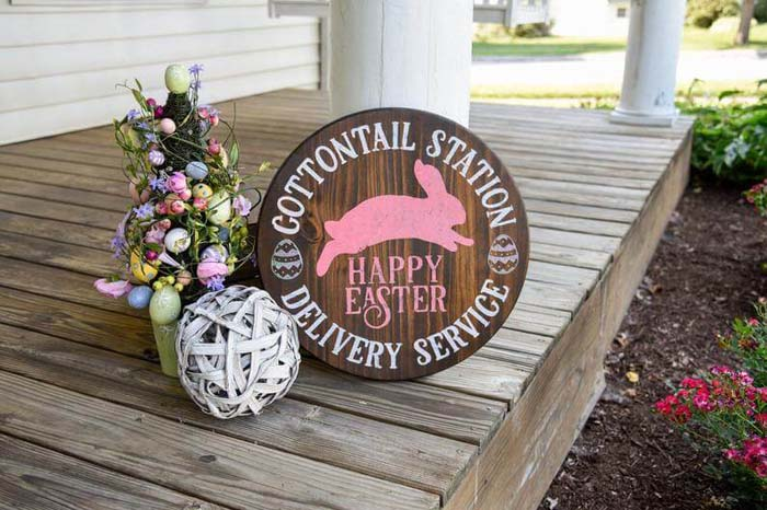 Cottontail Station Delivery Service Wooden Easter Sign #Easter #sign #decorhomeideas