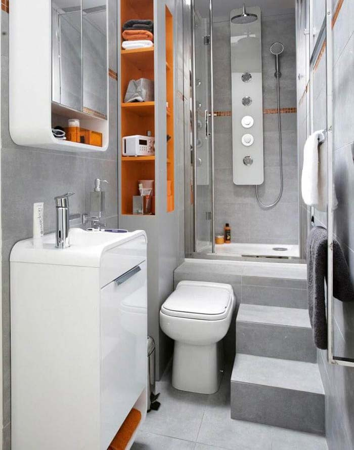 Curved Edges and Creative Toilet Placement #smallbathroom #design #decorhomeideas