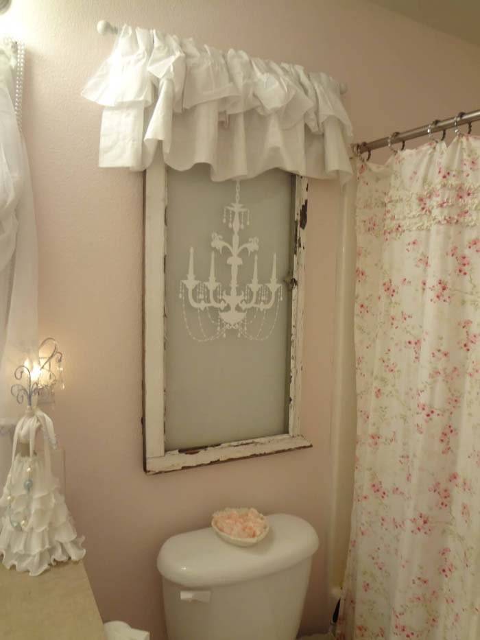 DIY Glass Chandelier Art with Ruffle #shabbychic #bathroom #decorhomeideas