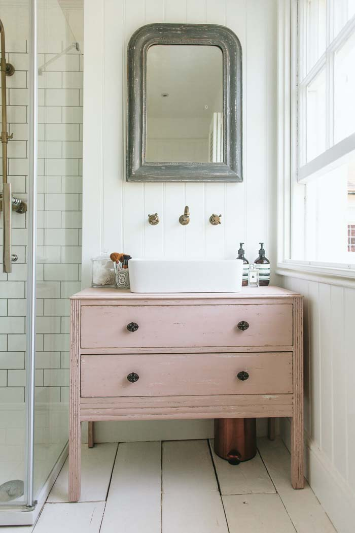 DIY Upcycled Dresser Bathroom Vanity #shabbychic #bathroom #decorhomeideas