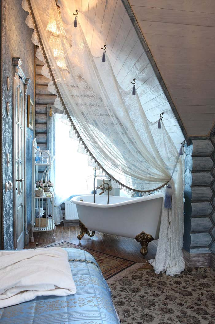 Dramatic Lace Bath Tub Privacy Curtain #shabbychic #bathroom #decorhomeideas