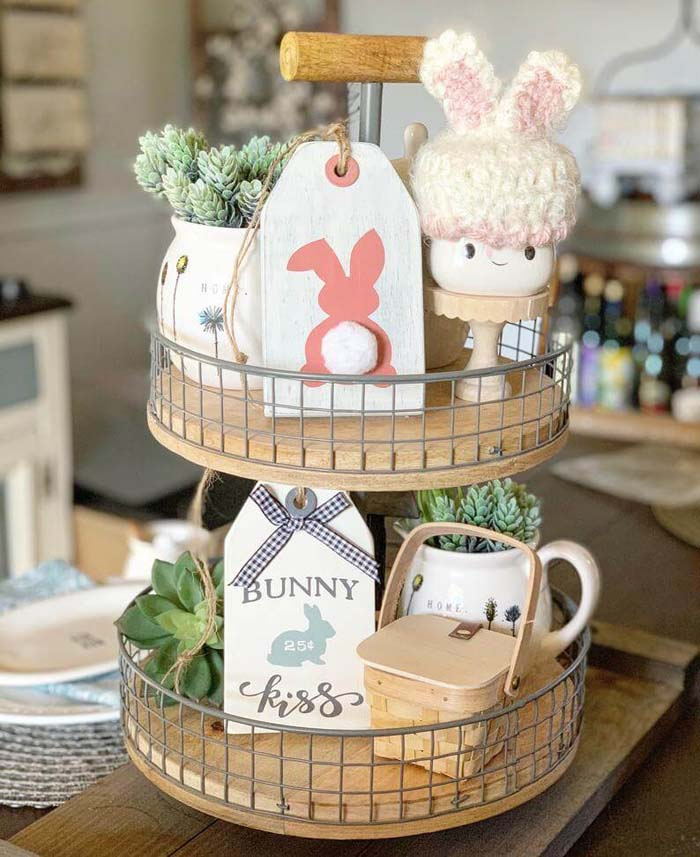 Easter Tag Shaped Wooden Signs #Easter #sign #decorhomeideas