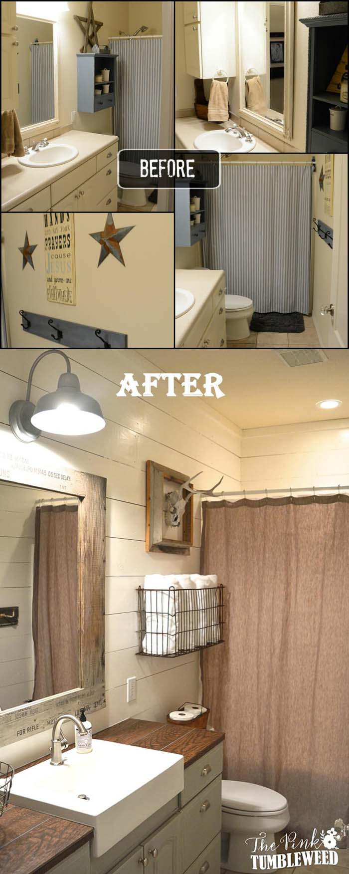 Exchange Dated Country for a Chic Western Theme #bathroom #makeover #decorhomeideas