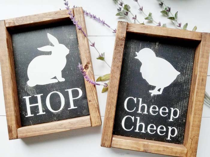 Farmhouse Style Framed Bunny and Chick Signs #Easter #sign #decorhomeideas