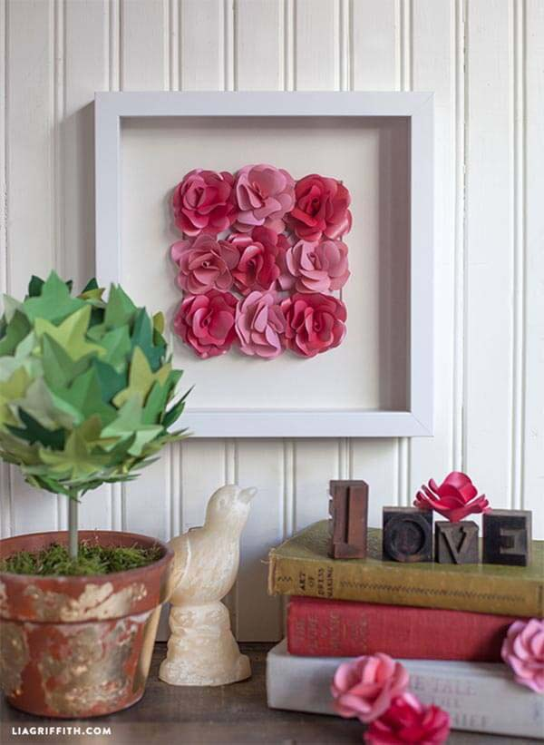 Framed Artwork of Paper Roses #floral #homedecor #decorhomeideas