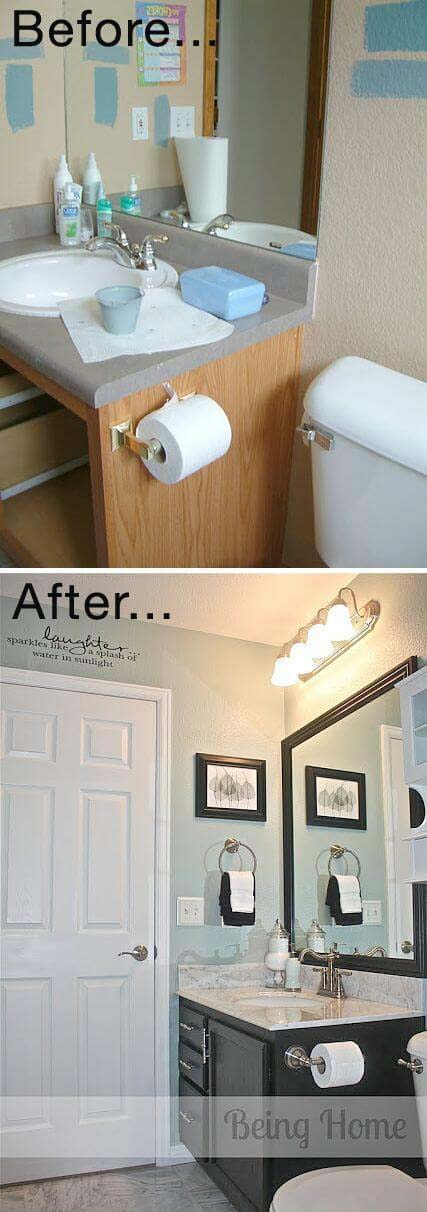 Framed Mirrors are a Big Impact Update Item #bathroom #makeover #decorhomeideas