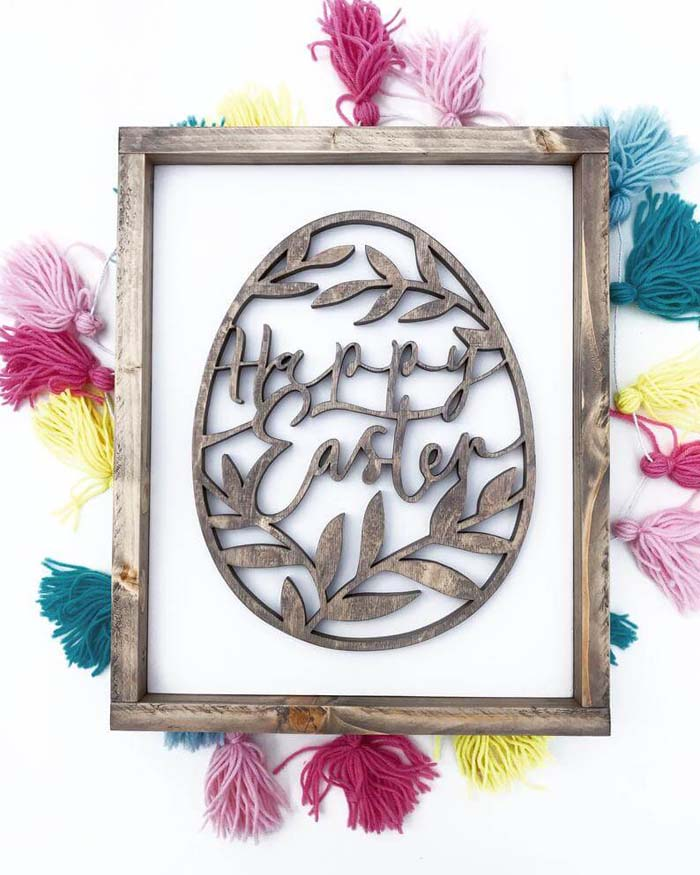 Hand-Scrolled Wooden Easter Egg Sign #Easter #sign #decorhomeideas