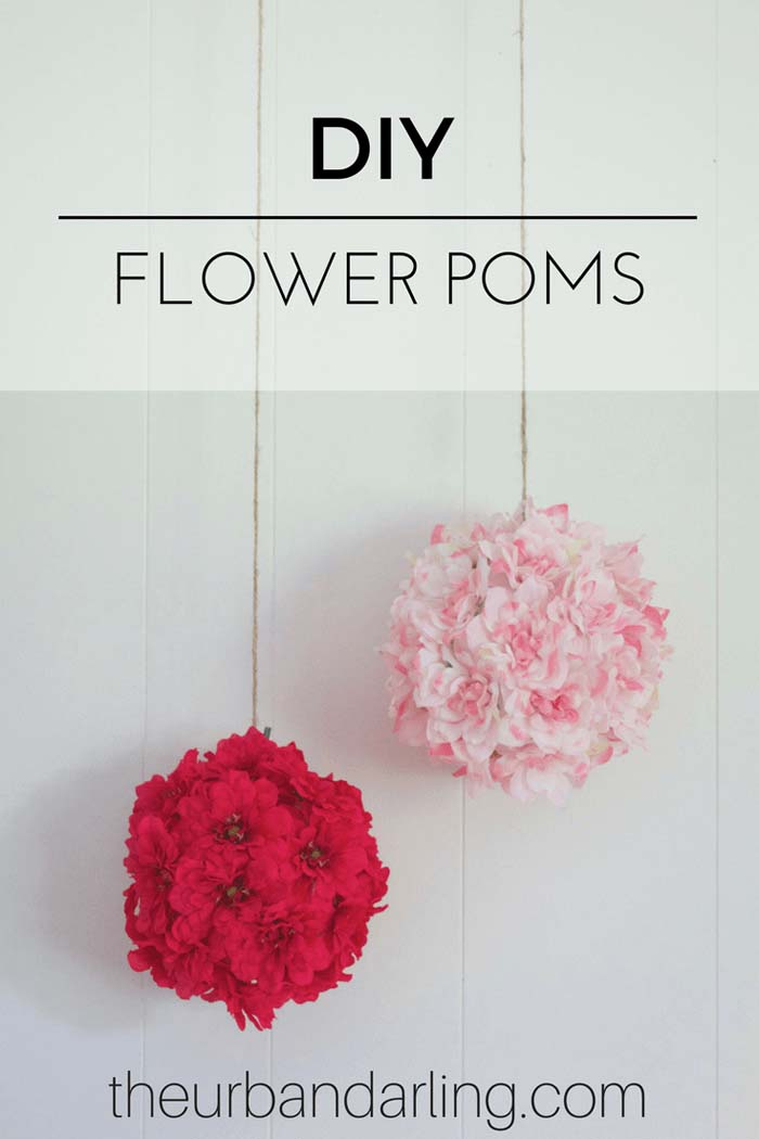 Hanging Poms with Silk Flowers #floral #homedecor #decorhomeideas