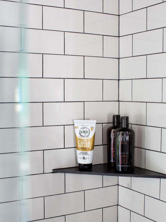 High Contrast Shelf In A Small Shower