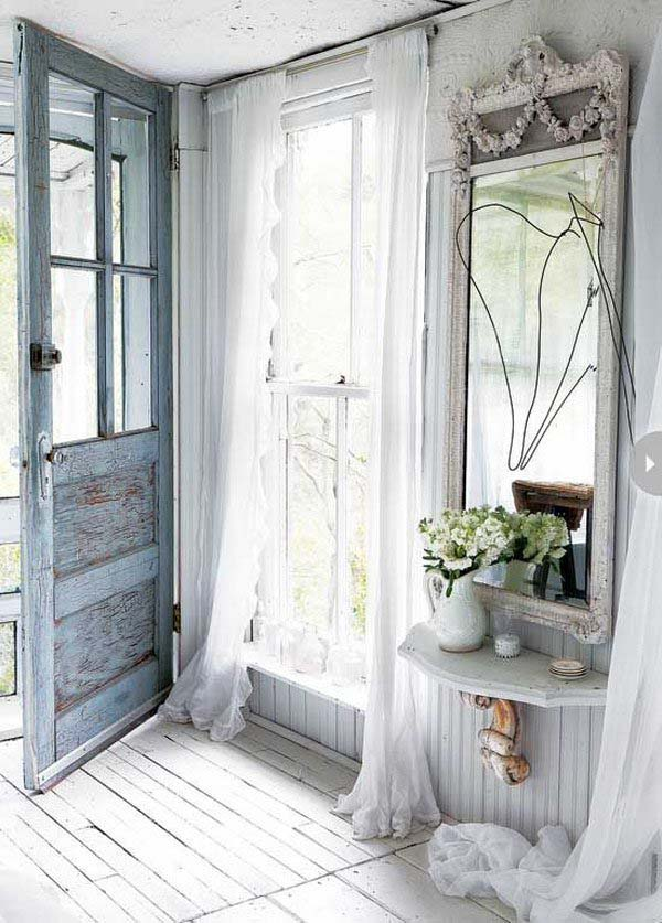 Let Light in with Sheer Curtains #rusticentryway #farmhouse #decor #decorhomeideas