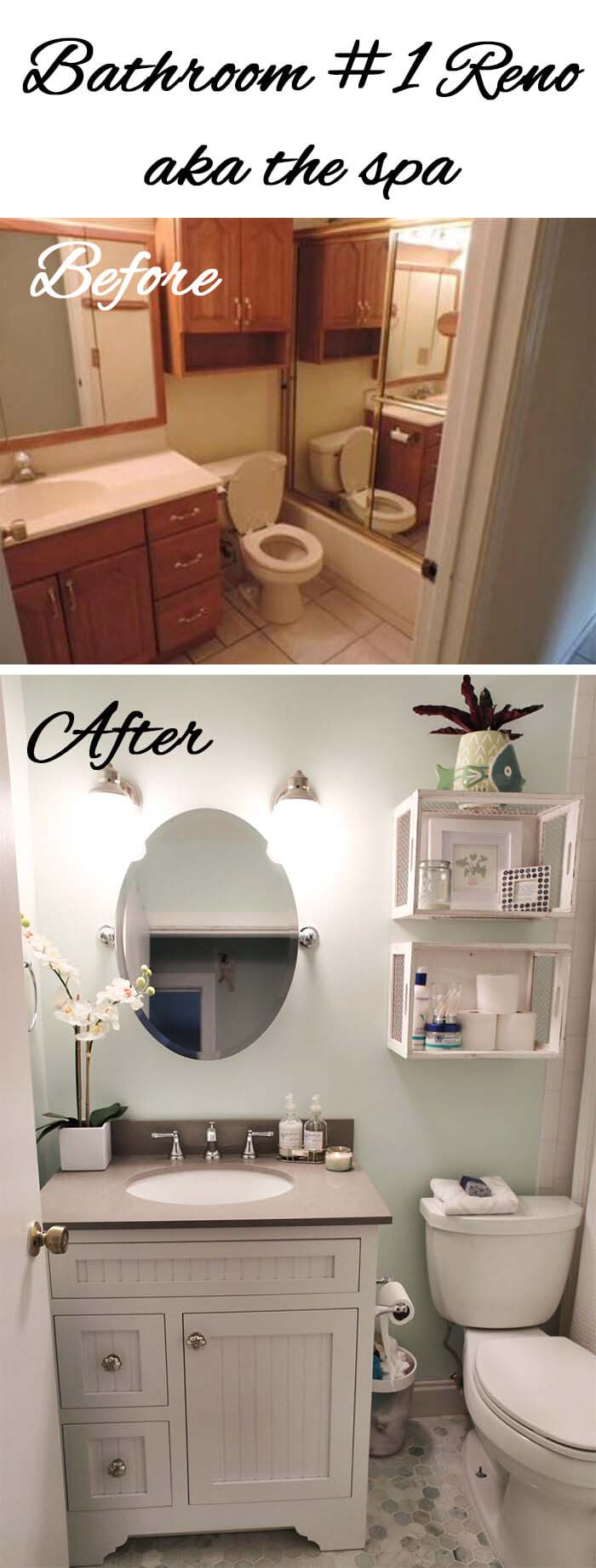 Light Colors and Open Storage Make the Room Bigger #bathroom #makeover #decorhomeideas