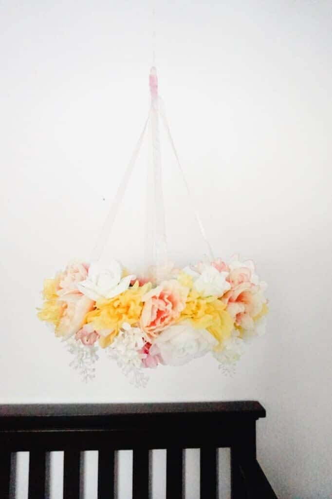 Mobile With Silk Flowers For Babys Nursery