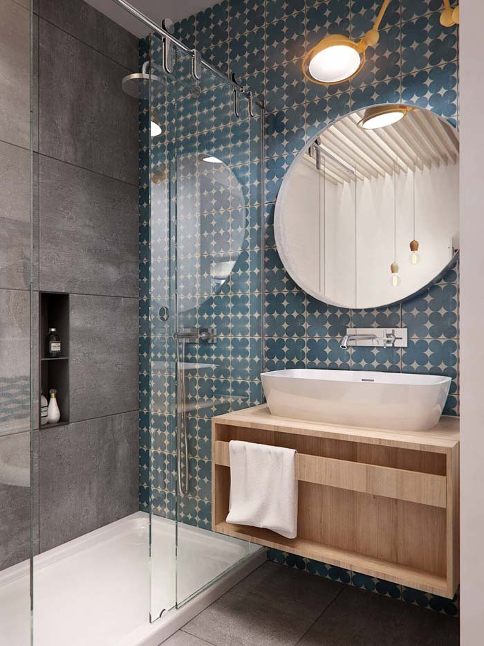 Mod Patterns with Pops of Color #smallbathroom #design #decorhomeideas