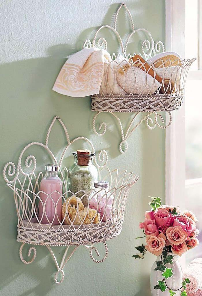 Mounted Wire Basket Bathroom Storage #shabbychic #bathroom #decorhomeideas