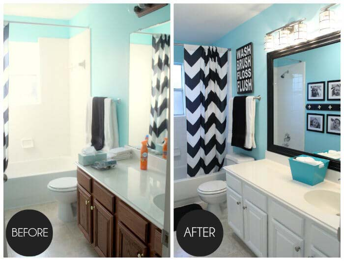 Paint and New Mirrors and Lights for a Quick Fix #bathroom #makeover #decorhomeideas