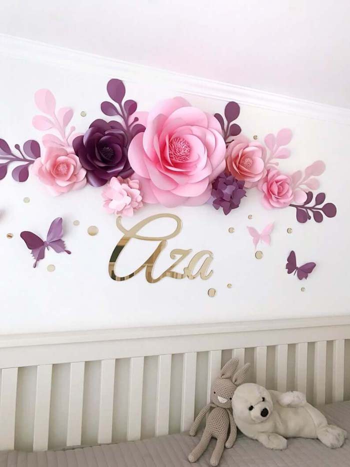 Paper Flowers and Butterflies Wall Décor #floral #homedecor #decorhomeideas