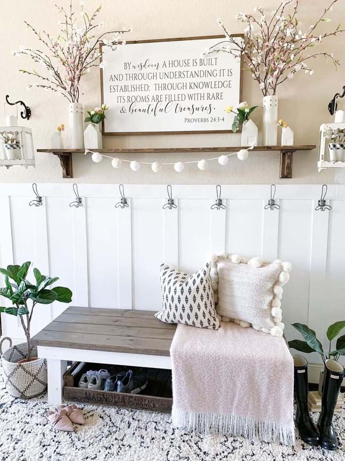 Peaceful Tranquility Eased into Your Home #rusticentryway #farmhouse #decor #decorhomeideas