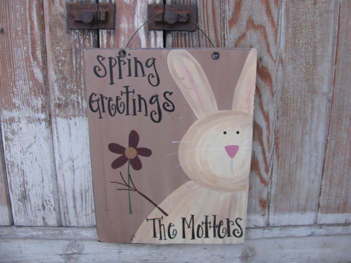 Personalized Primitive Spring Sign Decor #Easter #sign #decorhomeideas
