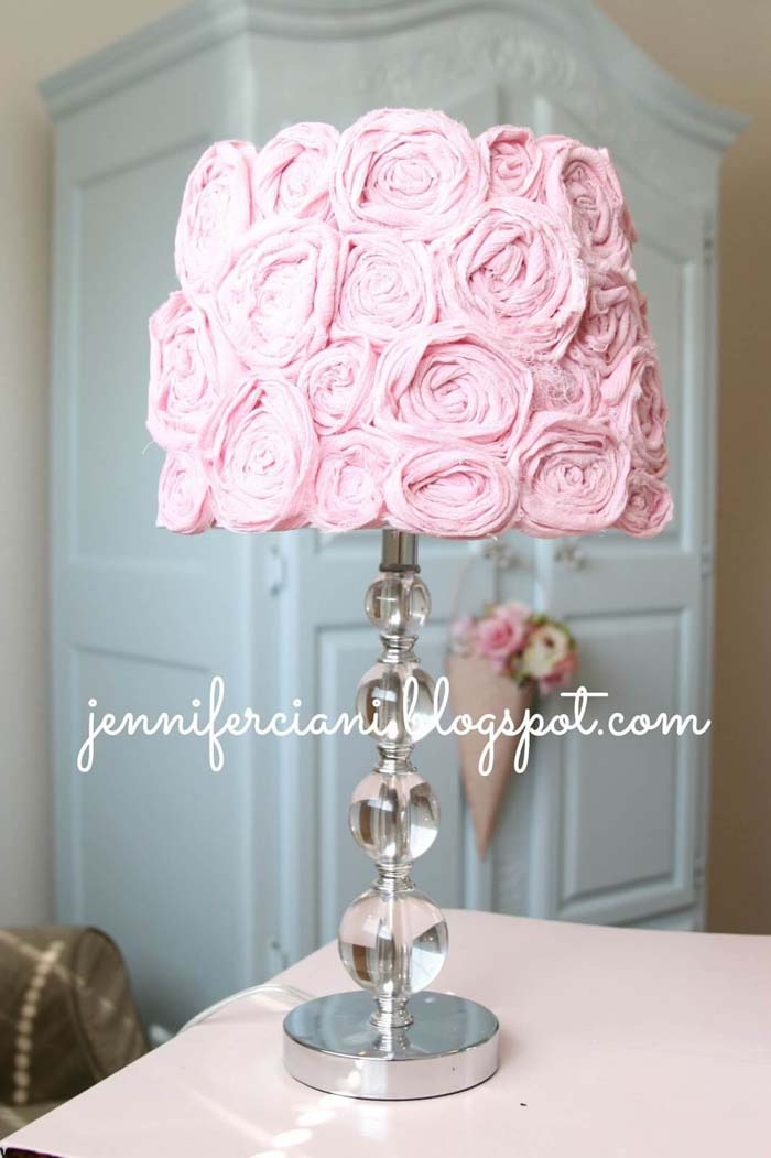 Pretty in Pink Lampshade with Rosettes #floral #homedecor #decorhomeideas