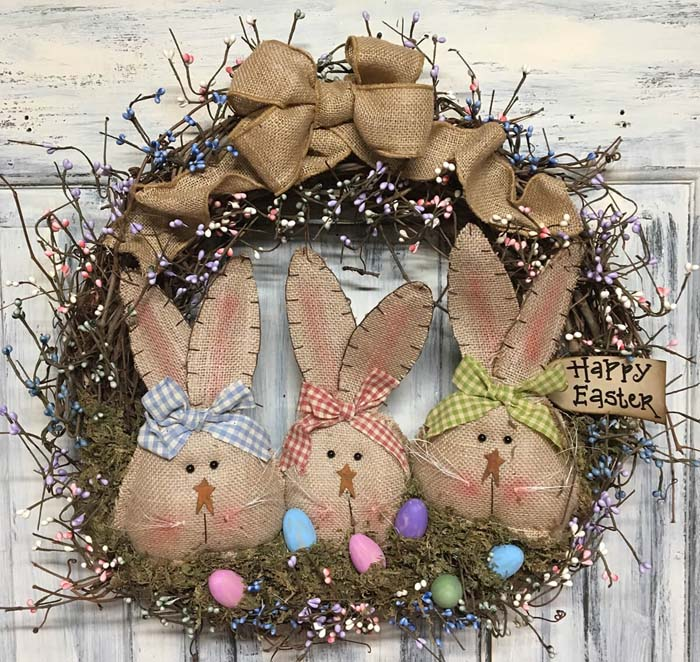 Primitive Burlap-bunnies and Bows with Pastel-pips Wreath #Easter #spring #vintagedecor #decorhomeideas