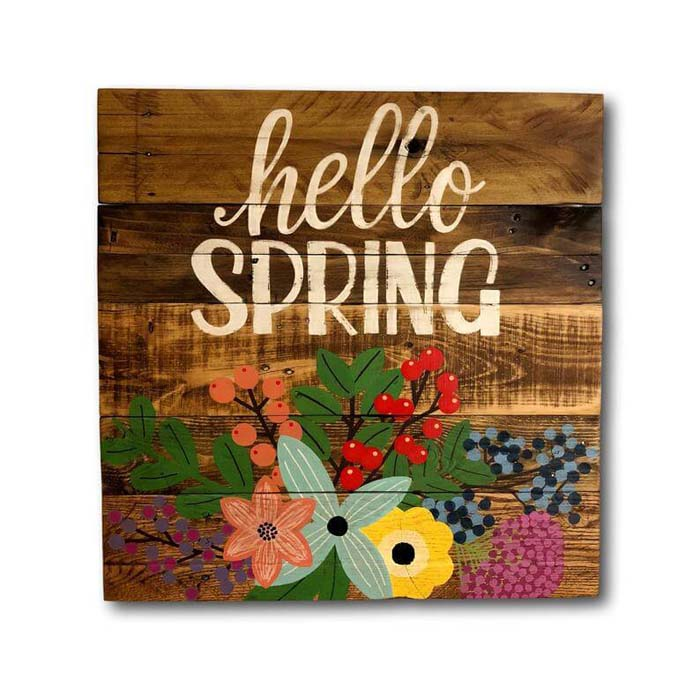 """Reclaimed Pallet Wood """"Hello Spring"""" Sign #Easter #sign #decorhomeideas"""