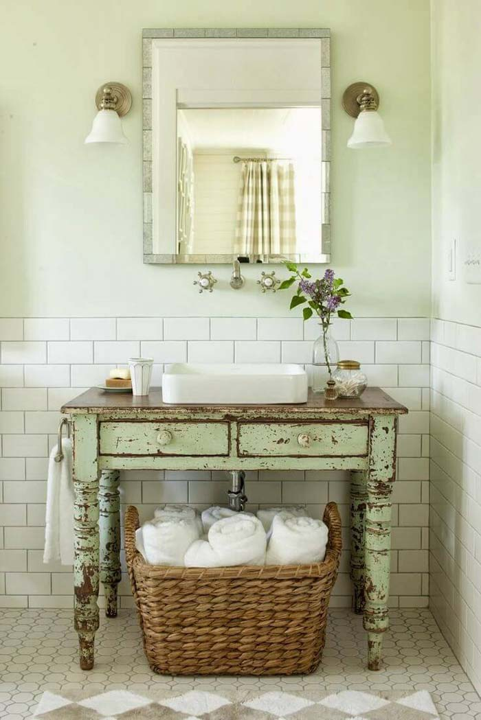 Repurposed Antique Table Bathroom Vanity #shabbychic #bathroom #decorhomeideas